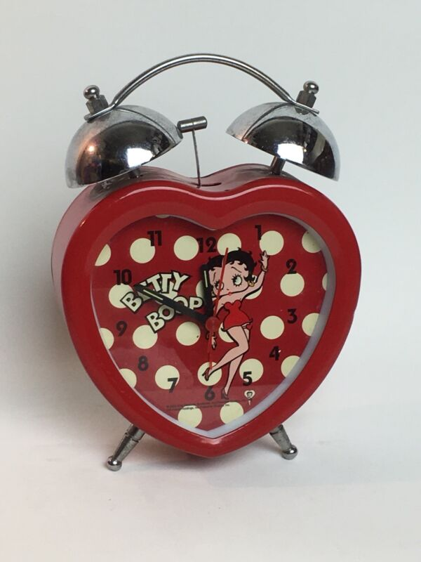 Rare Heart Shaped Betty Boop Twin-Bell Red Alarm Clock Valentines Gift