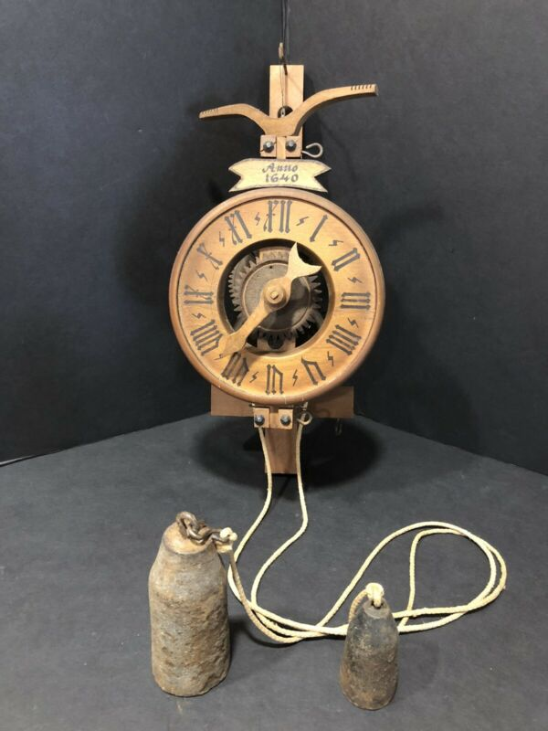 """Antique Weight Driven Clock """"Anno 1640"""" Wooden Movement"""