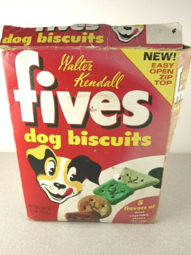 RaRe Vtg FIVES Dog Biscuits Food Box Original Walter Kendall Display Advertising