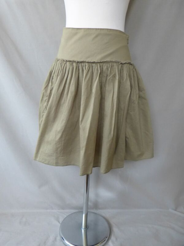 Gap 100% Cotton Olive Green A Line Pleated Lined Skirt Size 4