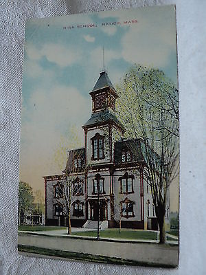 NATICK MA Massachusetts High School early 1900's Postcard