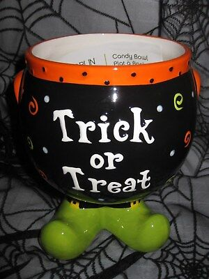 HALLOWEEN WITCH'S Feet CAULDRON TRICK or TREAT CANDY BOWL Goblin & Ghoul