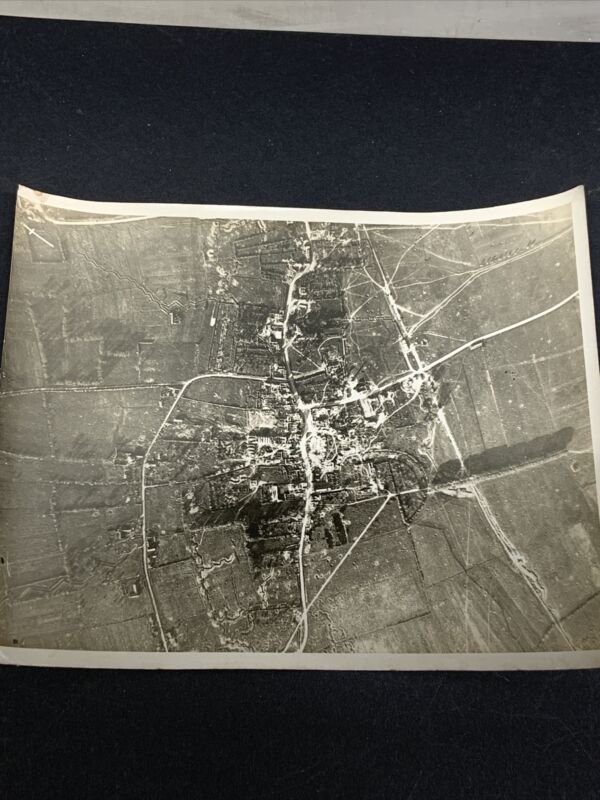 Original WWI Aerial Photo of Aubers, France Tons of Bomb craters and Trenches