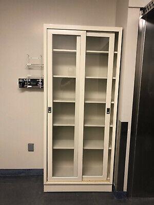 Tall Kewaunnee Lab Storage Cabinets With Glass Swinging Doors Tan