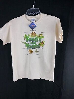 YOUTH T-shirt Frogs and Toads Gildan S M L Cotton Natural Nature NWT New - Frogs And Toads