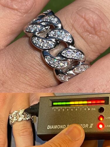 MOISSANITE Miami Cuban Ring 925 Sterling Silver Passes Diamond Tester Real Iced