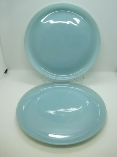 2 Vintage Anchor Hocking Fire King Turquoise Blue 9 Inch Plates