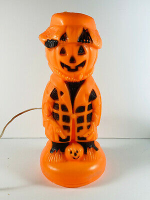 "Vintage 13"" Union Empire Halloween Scarecrow Pumpkin Blow Mold Light"