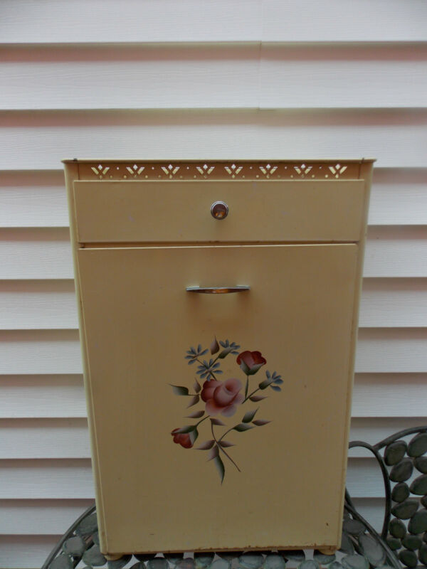 Vintage Detecto Metal Laundry Hamper Cabinet Yellow with Painted Roses