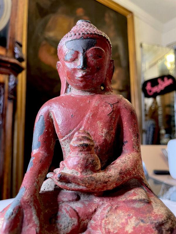 Rare Antique Burmese Bronze Shan Buddha Statue