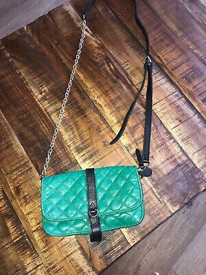 KATE LEE SOFT Green LEATHER Small BAG  Attachable Over Body Strap Gold/black