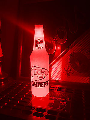 NFL Kansas City Chiefs Football 12 oz Beer Bottle Light LED Bar Neon sign ticket