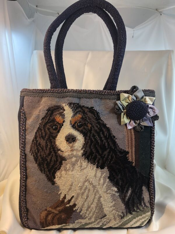 Cavalier King Charles TriColor Dog Needlepoint Purse Purple Textured Leather