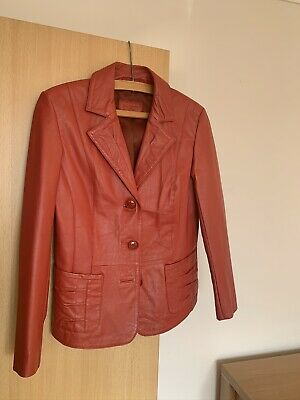Ladies Red 90s Style Vintage Genuine Leather Jacket - Betty Barclay - Size Small