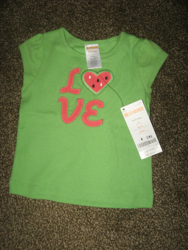 NWT Gymboree Watermelon Darling Green Cotton T Shirt Love 6-12 Months