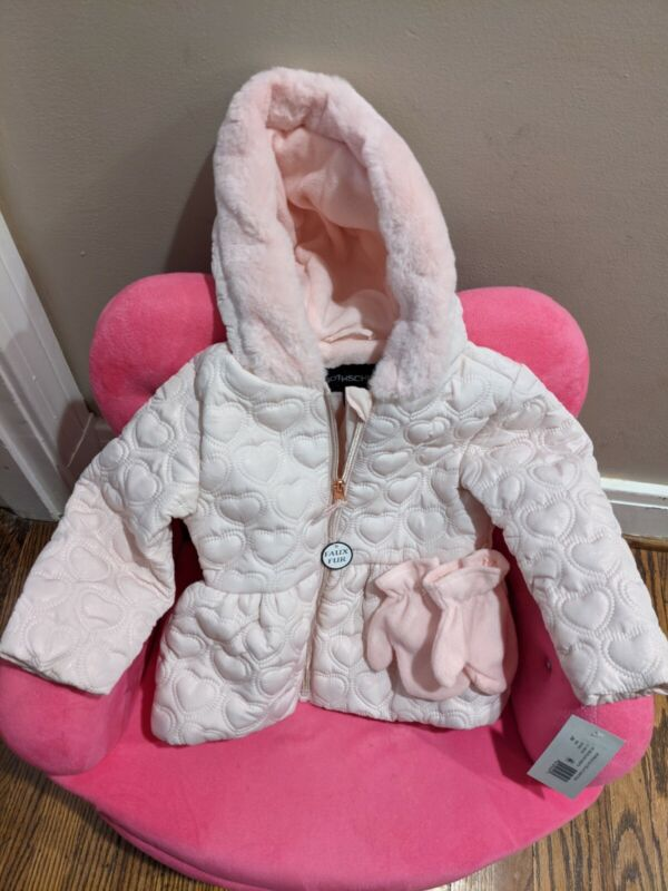 NWT Rothschild Pink Sparkle Quilted Jacket Coat With Mittens and Hood Baby Girls