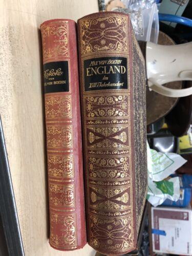 Lot of Two Max Von Boehn 1921 Leather Bound Books