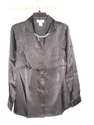 Richards Satin (Anthony Richards New Womens Black Satin Blouse 20 Pearls )