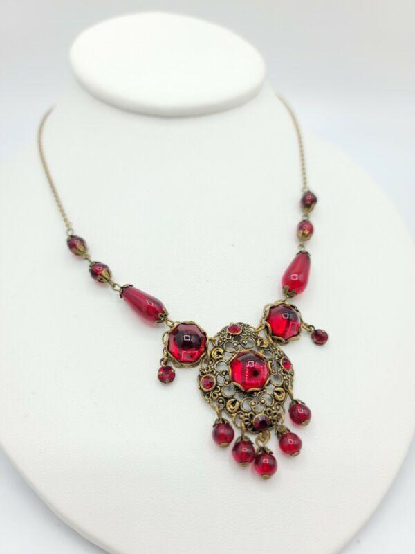 Antique Necklace Red Czech Glass Austria Crystal Cabochon Mogul Jewelry