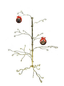 20 metal christmas wire ornament display tree stand 22 hooks gold color - Metal Christmas Tree Ornament Display