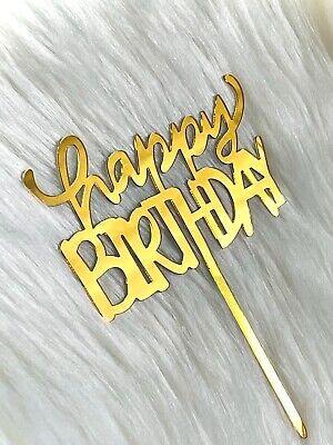 Happy Birthday Topper Acryl Kuchen Gold Tortenstecker Cake Geburtstag Party Deko