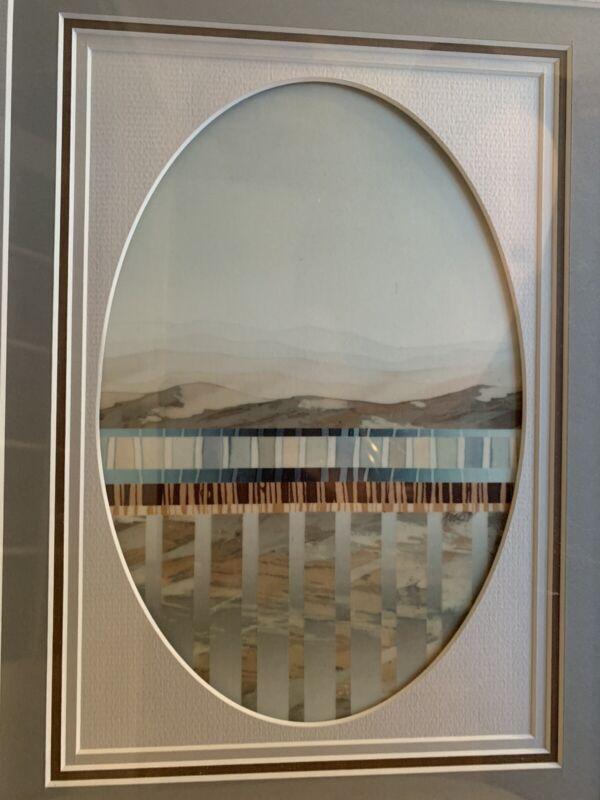 Kenlyn Stewart Batik Artist Abstract Mountain Scene In Grays Framed Art 21 X 17