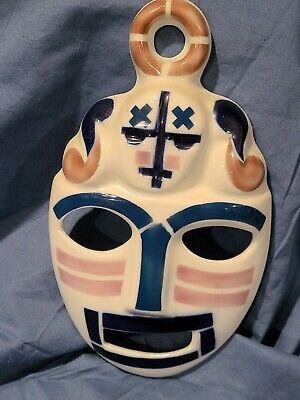 Sargadelos Spanish Porcelain Blue & White Mask Wall Hanging