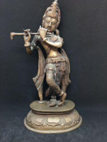 """Vtg. 11"""" Brass Lord Krishna Statue Figure Hindu God"""