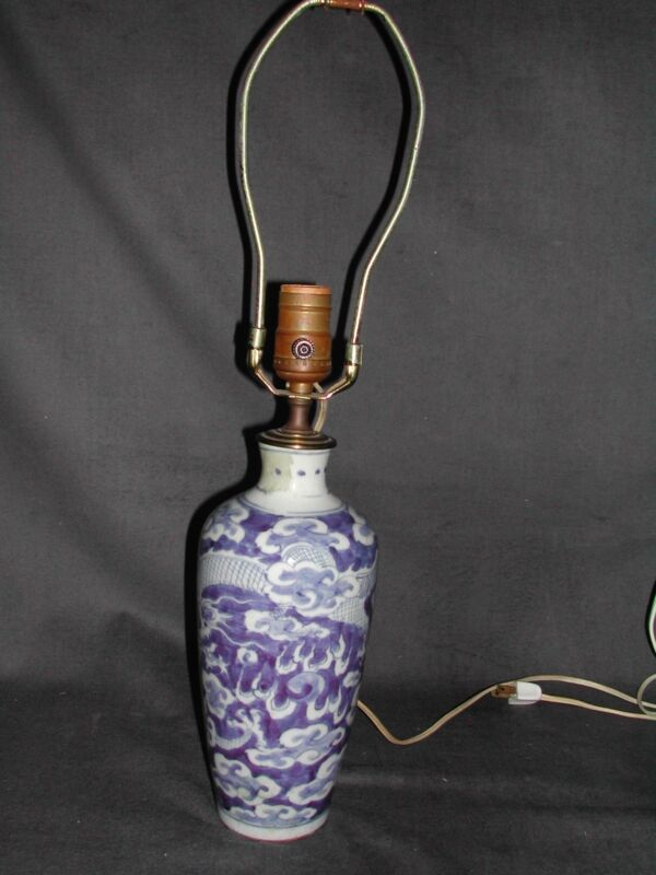 Antique CHINESE Blue & White Vase LAMP Vintage Dragon amid Clouds