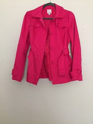 HALOGEN Bright Pink Four Button Belted Cotton Blend Trench Coat Sz Small