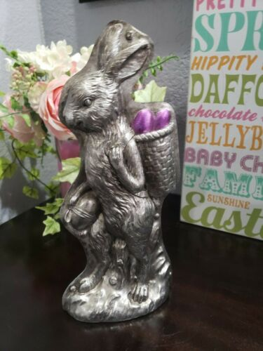 Primitive Style Easter Faux Bunny Rabbit Basket Mold Figurine Tabletop Decor 11""