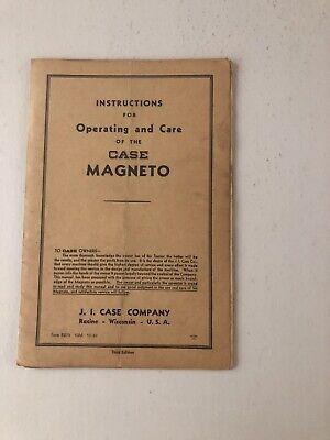 Case Magneto Original Operation And Care Manual Printed 1939