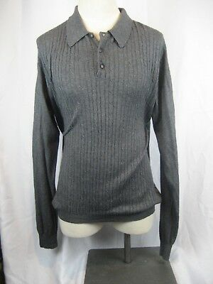 MensLouis Roth Charcoal Cable/Rib LS 85% Silk/15%Cashmere Sweater Shirt sz - Charcoal Cable