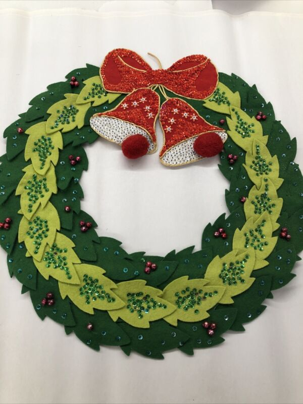Vintage Bucilla 1960s Frlt, Sequined And Pompom Wreath