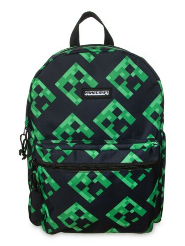 "Minecraft CREEPER All Over Print 16"" Backpack Book Bag Tote W/Bottle Pocket NEW"