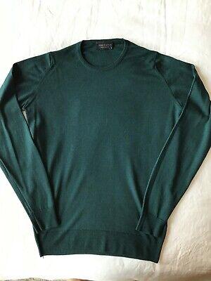 Mens John Smedley fine knit merino wool crew neck sweater in deep green, size S