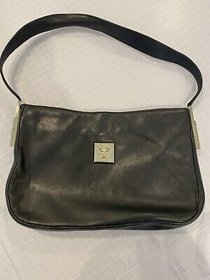 VTG 90's Gianni Versace Black Leather Shoulder Bag with Medusa Logo