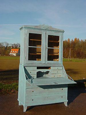 Shabby Chic Landhaus Barock Sekretär um 1800 Swedisch blau