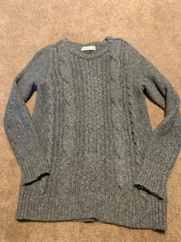 Girls Abercrombie Kids Gray White Cable Knit Pullover Sweater Size 15-16