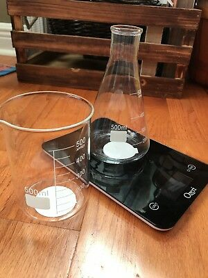 2PC CHEMISTRY GLASS BEAKERS SET HALLOWEEN PARTY STEAMPUNK DECOR