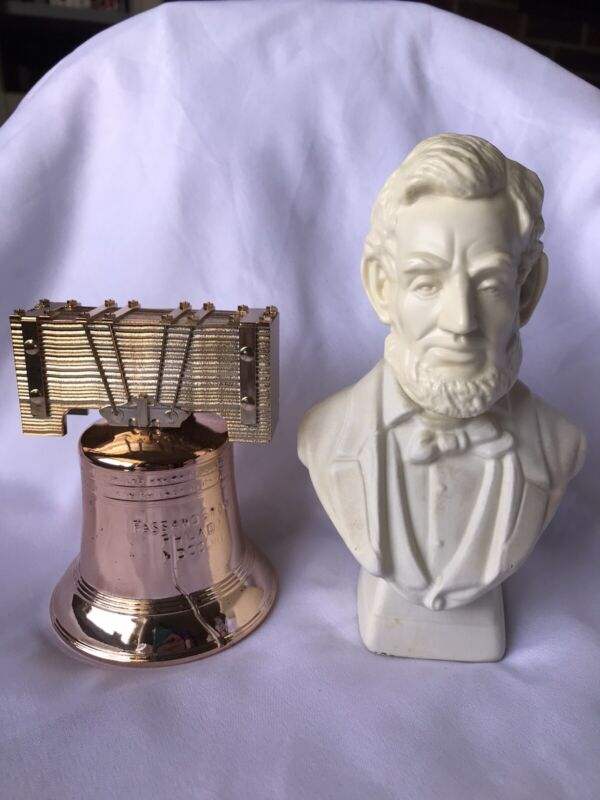 Vintage Abe Lincoln And Liberty Bell Avon Bottles In Box. Abraham Bust Patriotic