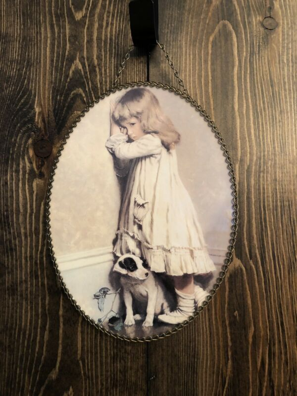 Vintage Flue Cover With Young Girl And Dog