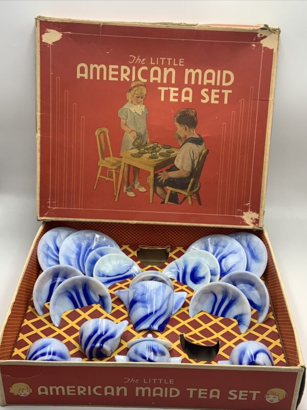 Vintage AKRO AGATE Little American Maid TEA SET Rare BLUE ONYX 19 Pc with Box