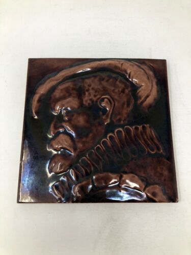 Antique J & JG Low Pottery Man Portrait Brown Tile Large 8 1/8""