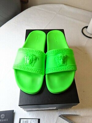 Versace Palazzo Pool Slides Men's Slide Sandals Green Size UK 44 US 11 pre-owned
