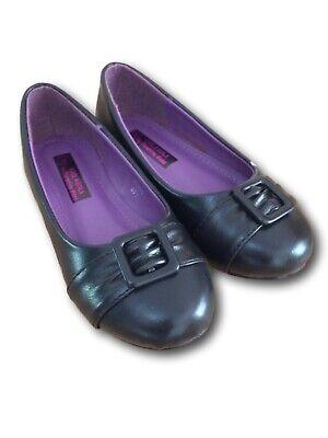 BRAND NEW 'KOOL FOR GIRLS' BLACK SLIP ON BALLET FLATS SCHOOL SHOES - Black Ballet Flats For Girls
