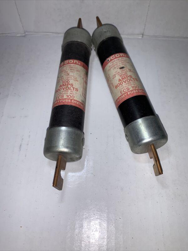 LOT OF (2) ECON DUAL ELEMENT TIME DELAY FUSE ECS100 ECS 100 AMP NOS