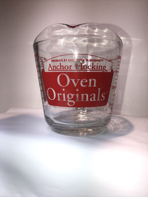 """Vintage Anchor Hocking Red 498 OVEN ORIGINALS 2-Cup Measuring Cup """"D"""" Handle"""