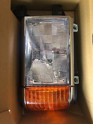 1987-1991 Ford Bronco F150 F250 Truck Headlights Chrome Trim Headlamps Pair Set