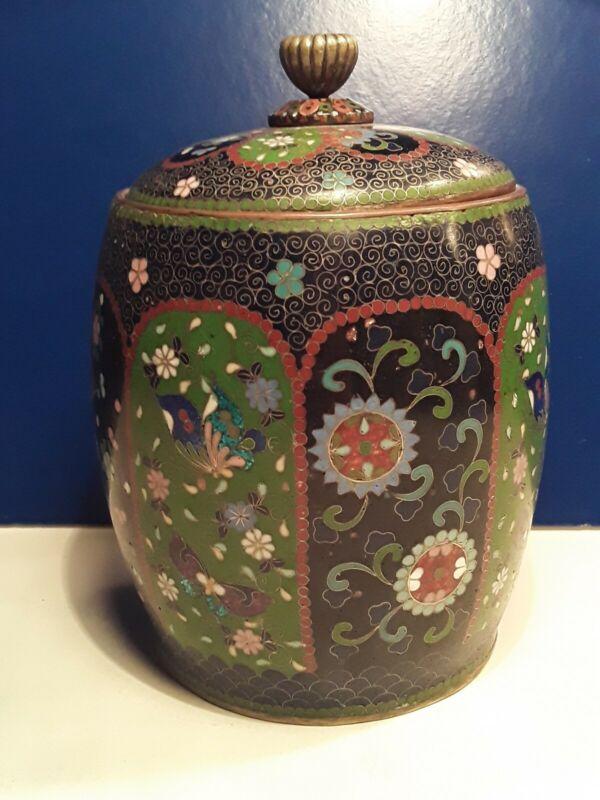 Antique Japanese Meiji Cloisonne Tobacco Jar
